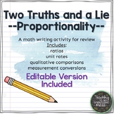 Writing in Math--Proportional Relationships--Two Truths and a Lie