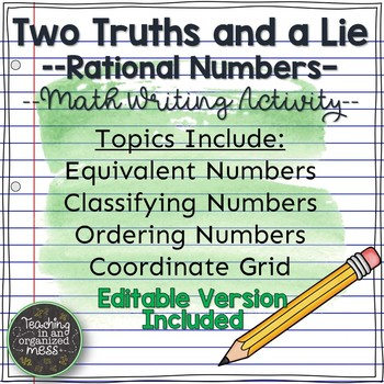 Writing in Math--Rational Numbers--Two Truths and a Lie