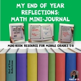 Middle School Math End of Year Writing Journaling Reflections