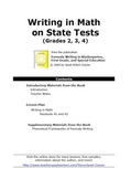 Writing in Math on State Tests (Grades 2, 3, 4)