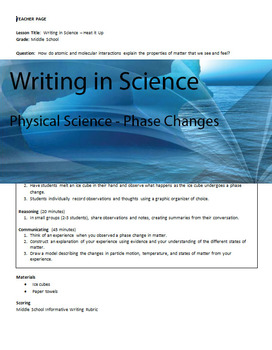 Writing in Physical Science - Phase Changes