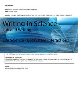 Writing in Life Science - Ecosystems