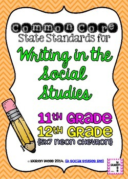 11th and 12 grade Writing in Social Studies Common Core Standards Posters