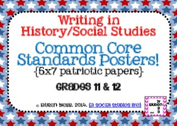 11th and 12grade Writing in Social Studies Common Core Standards Posters