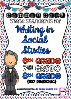 Writing in Social Studies Common Core Standards Posters! 6th, 7th, 8th grade