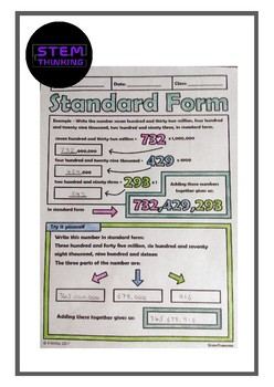 Writing Numbers in Standard Form Doodle Notes Elementary Math