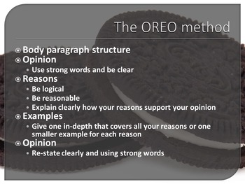 Writing in persuasive structures and the OREO method