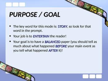 ELA WRITING Narrative Mode Fictional Narrative State Writing Assessment PPT