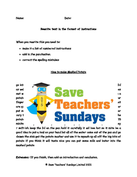 Writing instructions - Re-write text in the format of instructions (2 levels)