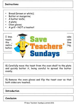 Writing instructions jigsaw activity