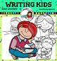 Writing kids clip art -Color and B&W-