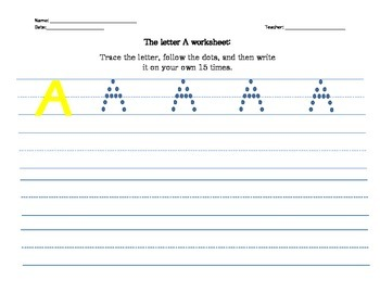 learn to write the alphabet: upper case letters A, B, C, D, E, F, and G