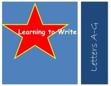 learn to write the alphabet: upper case letters A, B, C, D