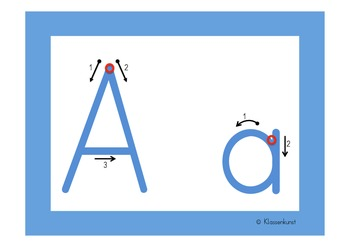 Writing letters, blue alphabet flashcards in English and German