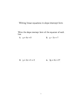 Writing linear equations in slope-intercept form 2