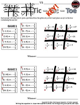 Writing linear equations in slope-intercept form from a point & slope TicTacToe