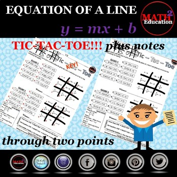 Writing linear equations in slope-intercept form thru two points Tic Tac Toe