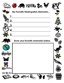 Writing list of Favorite Memories in Kindergarten