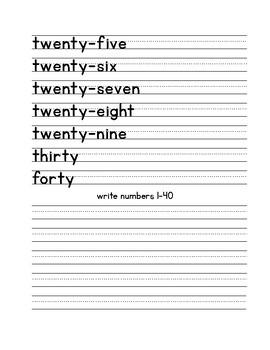 Writing numbers 1-40