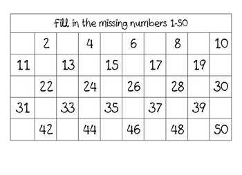 Writing numbers 1 - 50