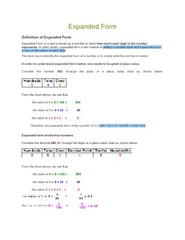 Writing numbers in expanded form