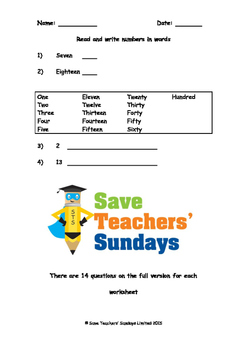Writing Numbers in Words Lesson Plans, Worksheets and More