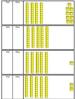 Writing numbers using base 10 blocks 1-100