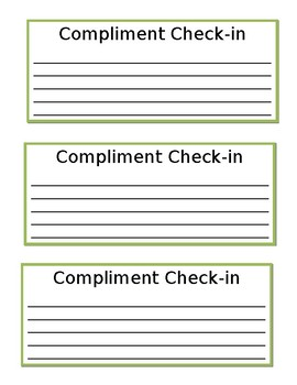 Writing or Reading Compliment Check-in Sheet