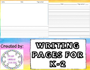 Writing pages K-2!