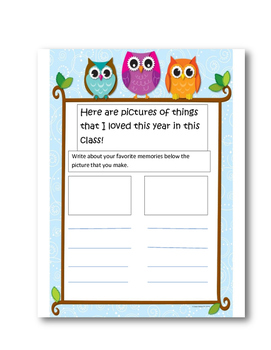 Writing paper-End of the Year Welcome Letter to Upcoming Students (Owls)