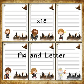 Writing paper for Harry Potter fans - 18 sheets - Light parchment background