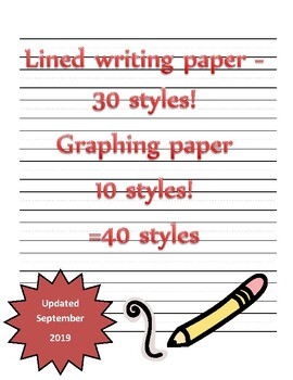 Writing paper with secondary lines,illustration, graph section - 35 styles!