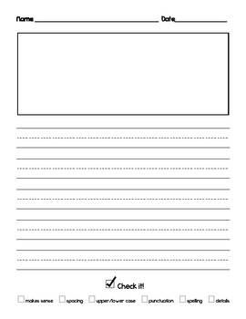 Writing paper with self-editing checklist for kindergarten and first grade