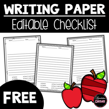 Writing paper with editable writing checklist