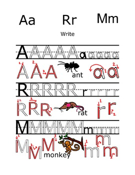 Writing practice: Alphabet letters A R M