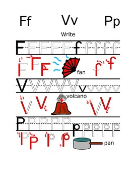 Writing practice: Alphabet letters F V P