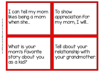 Writing prompts and conversation starters - Mother´s Day