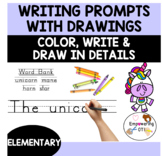 Writing prompts: color, draw details, write with word bank and check legibility