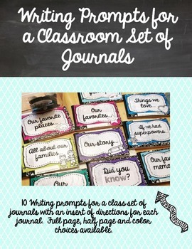 Writing prompts for a class set of journals