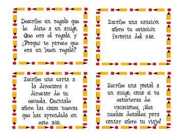 centro de escritura -writing prompts en Español by Mrs Perales | TpT