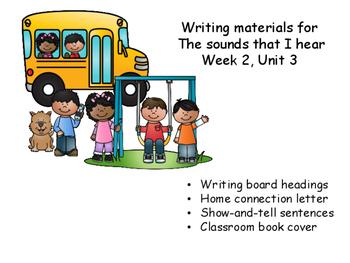 Writing responses for Unit 3, Week 2, Wonders Reading Program, Sounds around us.