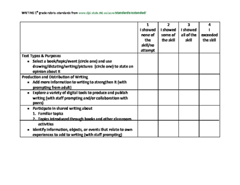 Writing rubric 1st grade extended standards