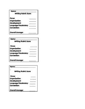 Writing rubric score sheet