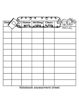 Writing rules and notebook assessment sheet