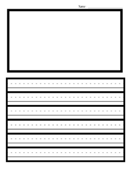 Writing sheet thick border guidelines with illustration box