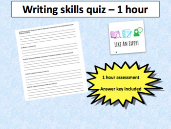 Writing skills for middle school - 1 hour assessment with answer key/rubric