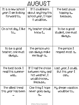 Writing starters for the school year!
