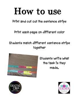 Writing task sentence strips
