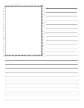 Writing template with photo/picture box
