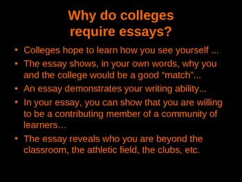 Writing the College Application Essay - PowerPoint